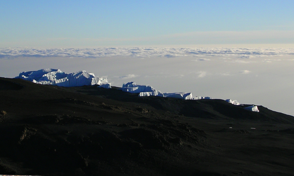 Dwindling glaciers on the upper reaches of Kili