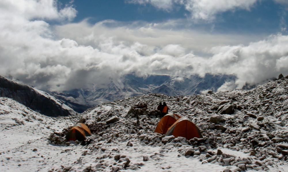 High camp after a fresh snow fall