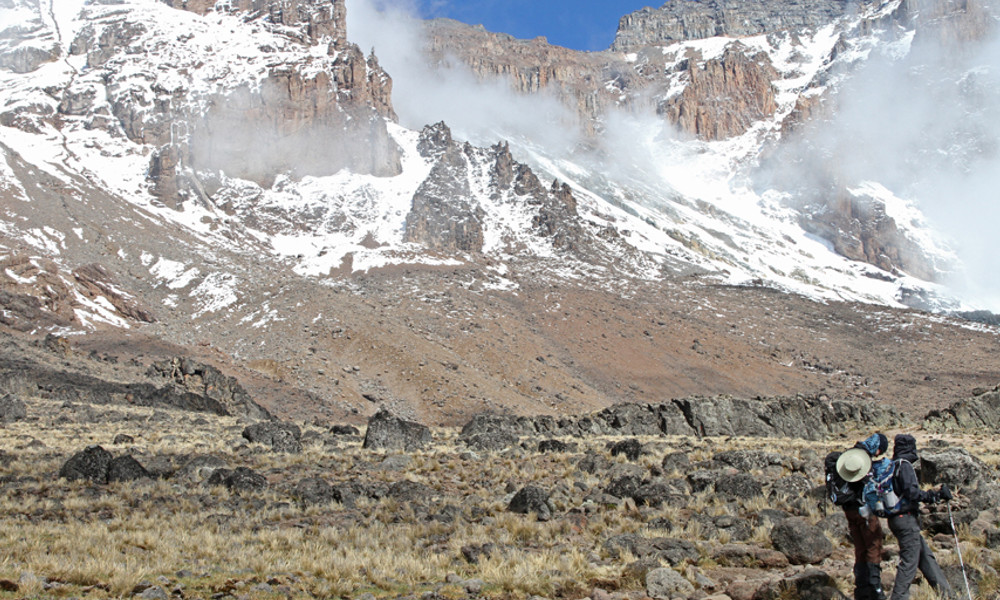 Fresh snow on the upper reaches of Kilimanjaro