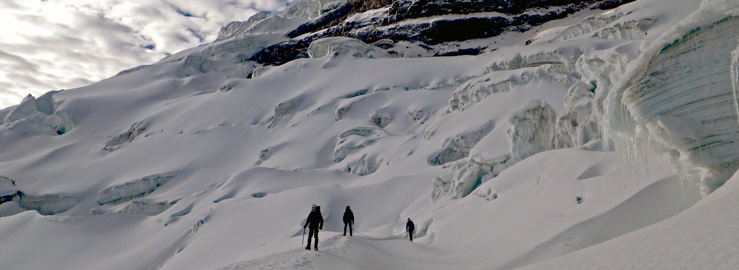 Navigating the crevasses on Cotopaxi