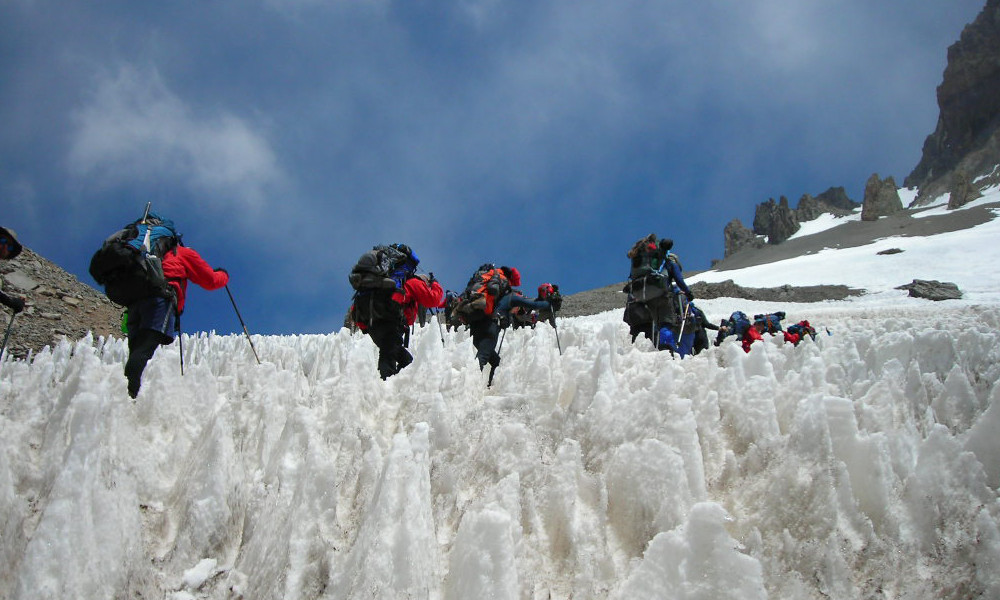 Travelling from basecamp up to Camp 1 through Penitentes