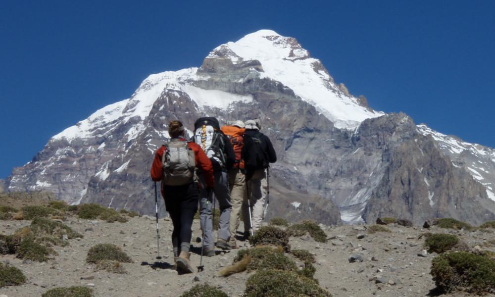 Ascending towards Plaza Argentina Basecamp on day 3