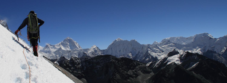 Climbing Lobuche in the upper Khumbu